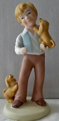 Avon Porcelain Figurine Best Friends Boy & Puppies Handcrafted For Avon 1981