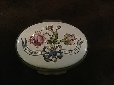 Halcyon Days Box Reproduction Of 1785 Box - As The Rose So Is Life Box  As Is