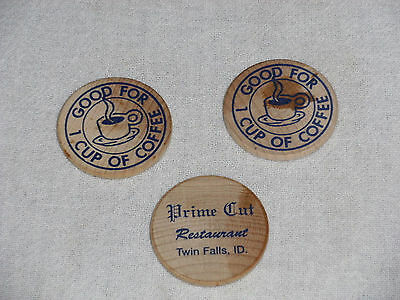 Three Vintage Wooden Nickels Good For 1 Cup Coffee Prime Cut Twin Falls, Idaho
