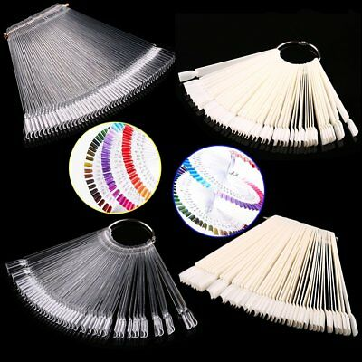 50pcs False Display Nail Art Fan Wheel Polish Practice Tip Sticks Nail Art D#