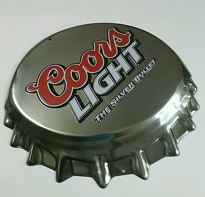 Coors Light Cap Silver Bullet Embossed Metal Sign Beer Bar Home Man Cave Decor