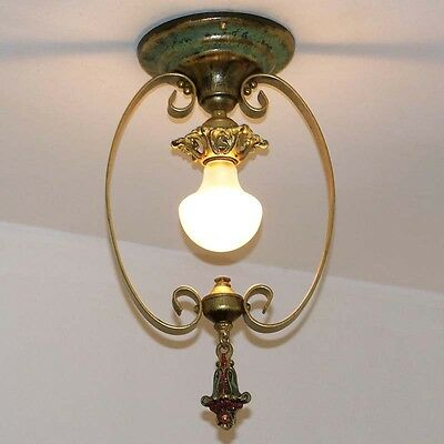 905 Vintage 20's 30's Ceiling Light Lamp Fixture Hall Entryway Porch pendant