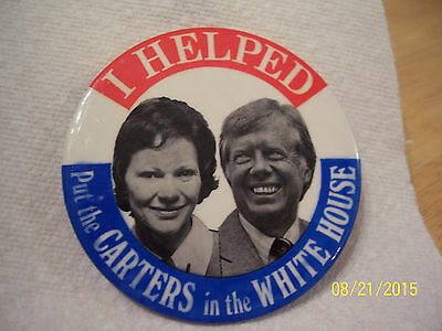 "1977 ""I Helped Put the Carters in the White House"" Photo Pinback Button Jimmy"