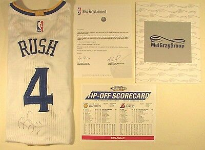 RARE Brandon Rush Golden State Warriors Signed MeiGray Auth Game Used Jersey COA