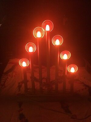 Vintage Christmas Royal Wooden Electric Candelabra Light With Original Halos.