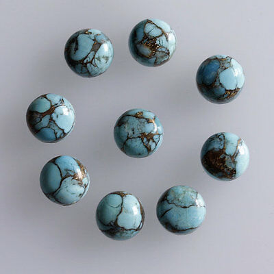 10MM Round Shape, Blue Copper Turquoise Calibrated Cabochons AG-233