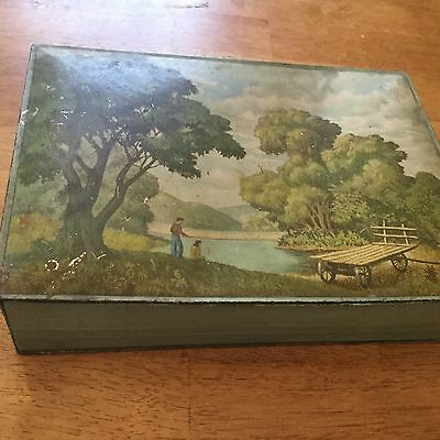 BISCUIT TIN Nabisco Country Scene Chocolate Candy cookie cracker Box