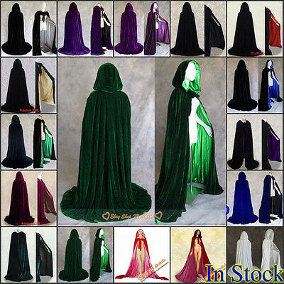 Stock Christmas Hooded Cloak Halloween Medieval Wedding Coat Velvet Cape Shawl