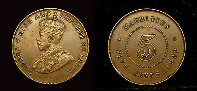 MAURITIUS - 5 cents 1922 - George V - nice condition
