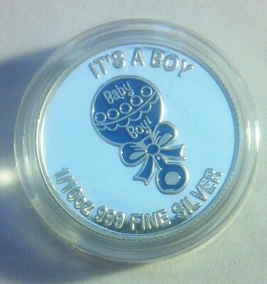 "NEW 2013 ""It's a Boy"" 1/10th OZ 9999 Solid Silver Bullion Coin (Coloured Blue)"