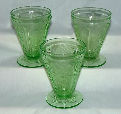 "8 Jeannette CHERRY BLOSSOM GREEN *3 3/4"" 4 oz FOOTED JUICE TUMBLERS*"