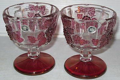 "2 Westmoreland PANELED GRAPE RUBY FLASHED *3 3/4"" SHERBETS*RUBY FOOT*w/Stickers"