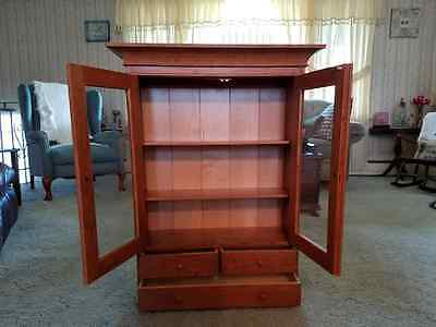 3 drawer cherry wall cabinet with maple backing