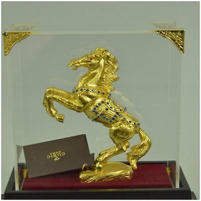 Art Deco Rearing 24K Gold Plated Horse With Gem Stone Glass Display Figurine A