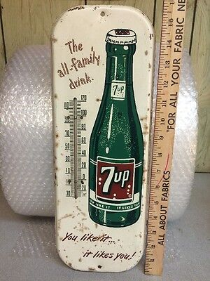 """Vintage 7up Soda Thermometer Metal Sign. """"The All Family Drink"""" Slogan"""