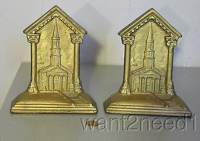"antique old gilt CAST IRON CHURCH CHAPEL BOOKENDS pr 7"" signed DF CO PATENT PEND"