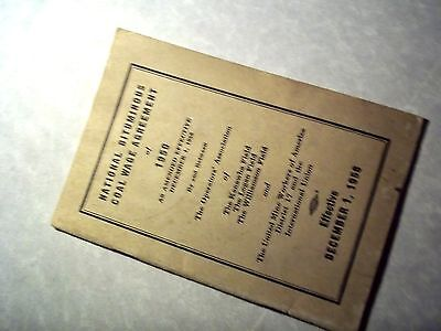 United Mine Workers National Bituminous Coal Wage Agreement 1950 Booklet