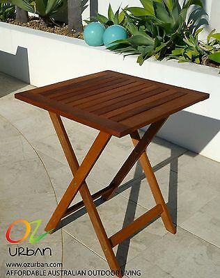 Small Outdoor Table: New Folding Small Meranti Timber Table for Patio and Garden
