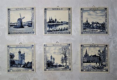 Lot of 6 Rare Hand Painted Vintage Delft Blue Tiles Internationale Landmarks