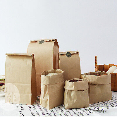 5Pcs  Kraft Paper Gift Bag Brown Paper Package Food Bag Wedding Party Supply