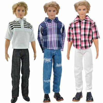 E-TING? 3 Sets Casual Wear Plaid Doll Clothes Jacket Pants Outfits For Ken Dolls