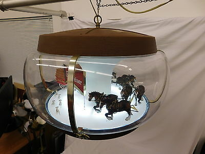 Large Budweiser Beer Sign Rotating Globe Beer Clydesdale Horses Dogs Bud80316