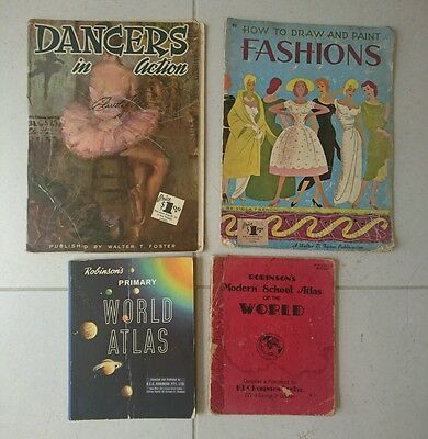 4 x Vintage / retro books - fashion drawing, dancing and atlases