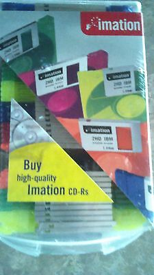 Imation Neon Diskettes 40 2hd Diskettes Ibm Formatted + Case New