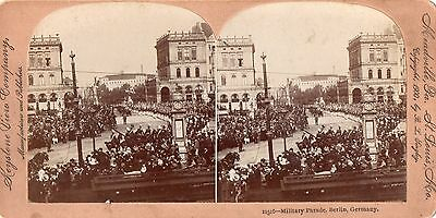 1900 Military Parade in Berlin, Germany Stereoview Photo