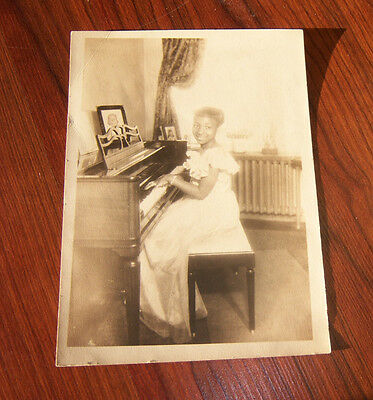 1940's Photo of Girl in Long White Dress Playing Piano