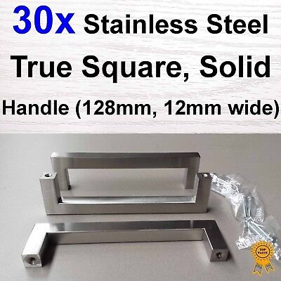 30x Kitchen Cabinet Door Handle - Stainless Steel 128mm 12mm True Square Solid