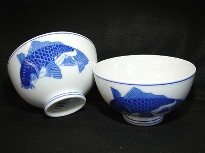 4 of Porcelain Blue White Rice Bowls with Fish Pictures