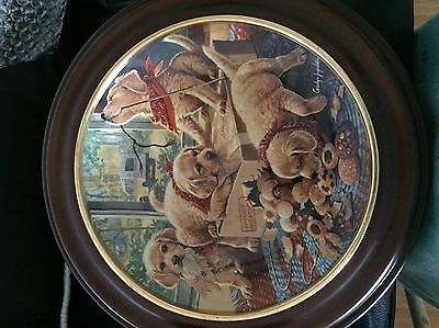 "GOLDEN RETRIEVER ""Handle with Care"" Plate Little Bandits Bradford"