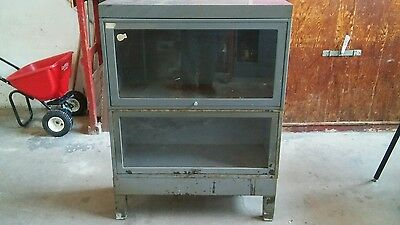 Mid Century Industrial Glass Front Cabinet.