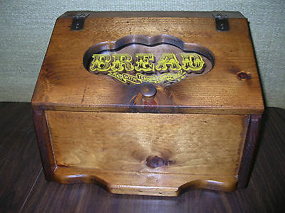 VINTAGE  RUSTIC  WOOD  BREAD  BOX  w/ GLASS  FRONT  -  DATED  1984   VGC