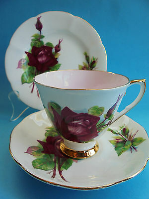 Roslyn Grand Gala Pink Trio Tea Cup Saucer Plate Wheatcroft Roses Like New