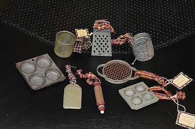 Antique Vintage Primitive Style Miniature Kitchen Sifter Grater Pan Cup Roll Pin