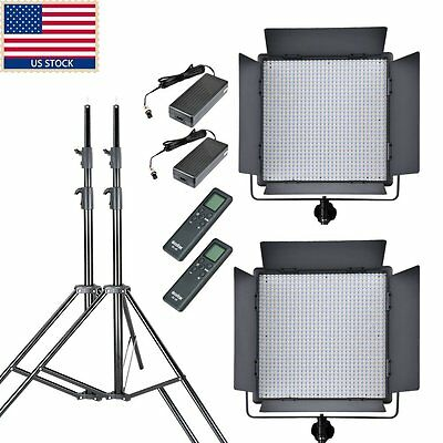 US GODOX 2x LED1000W White Version 5600k LED Video Studio Lighting + Light Stand