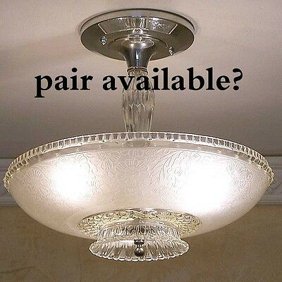 881 1940's Vintage Ceiling Light Lamp Chrome Fixture Glass Chandelier