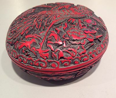Antique Chinese Deeply Carved Cinnabar Lidded Box - With Rooster & Flowers