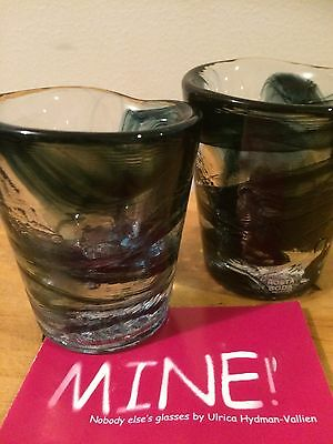 Kosta Boda Ulrica Hydman-Vallien Mini Mine Glasses X 2