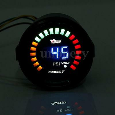 2'' 52Mm Led Manometro Strumento Pressione Turbo Boost Guage & Voltometro Auto