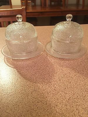 2 Vintage Sugar Bowls With Lid Glass