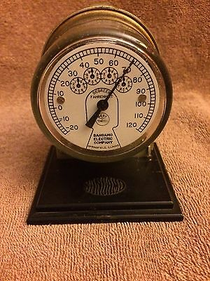 Steampunk Vintage Sangamo Electric Company Advertisement Meter Desk Thermometer