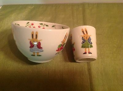 CATIMINI LOLA BUNNY Rabbit set of Porcelain BOWL & CUP Yves Deshoulieres France