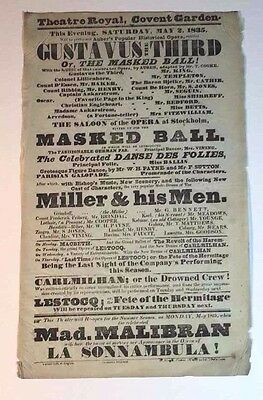 ANTIQUE Theatre Royal Covent Garden Flyer Playbill Saturday May 2, 1835 Theater