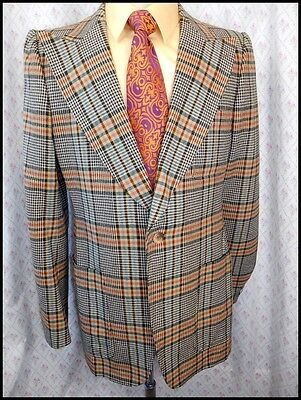 Vintage 1970s Green & Blue Plaid Wool R. Murat Blazer Jacket 39 Anchorman Style