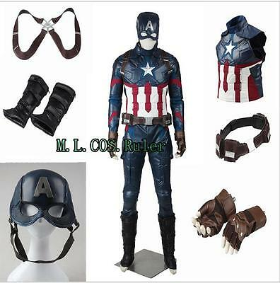 Hot Latest Captain America 3 Civil War Steven Rogers Cosplay Costumes Jumpsuits