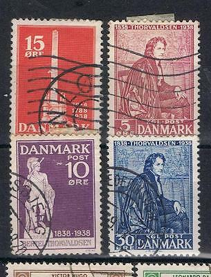 Denmark 1938 Abolition and Thorvaldsen issues  Used