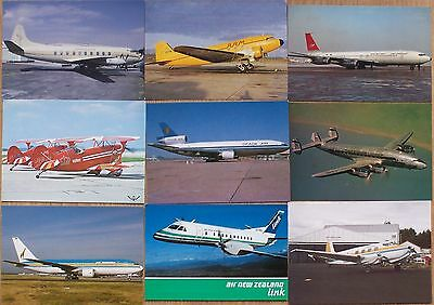 Civilian Aviation Postcards x 9